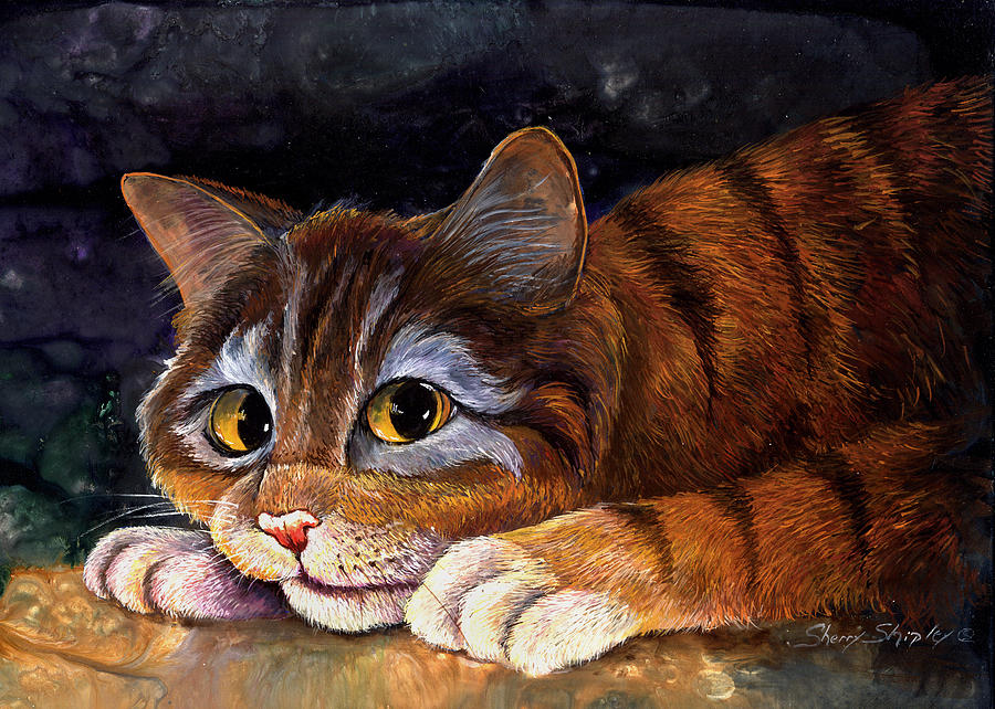 Cat Painting - Scaredy Cat by Sherry Shipley