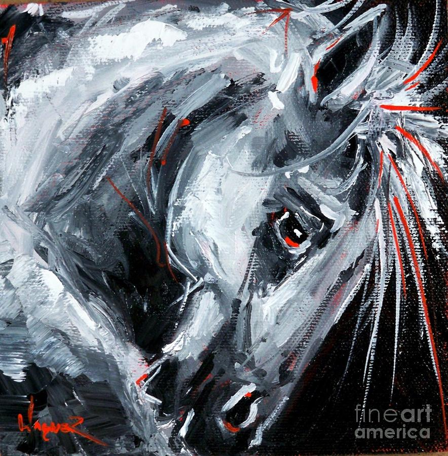 Scarlet On Chrome Painting By Olga Wagner