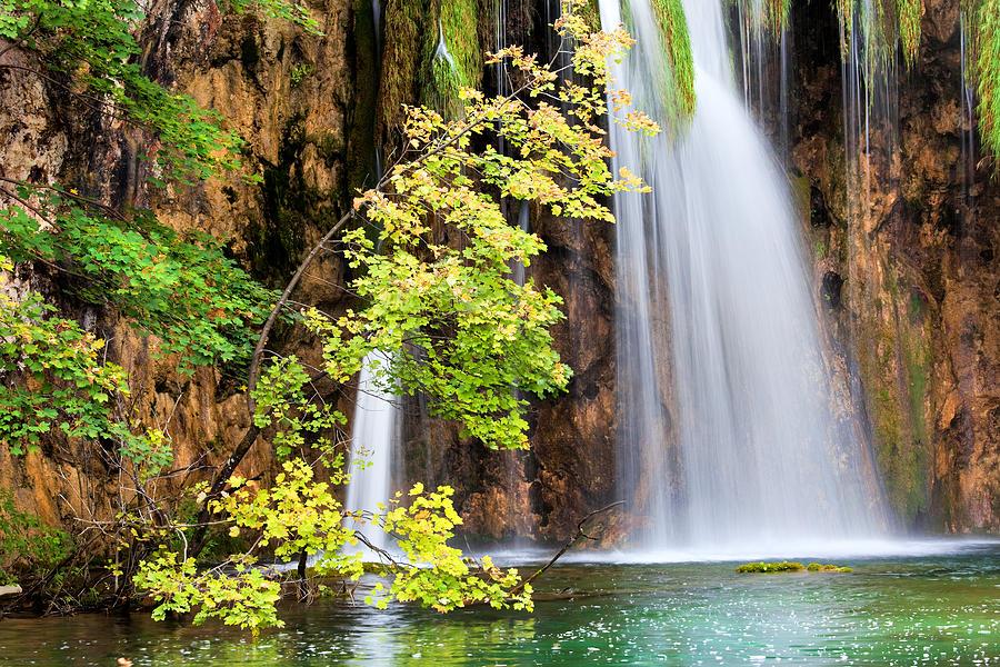 Waterfall Photograph - Scenic Waterfall In Autumn by Artur Bogacki