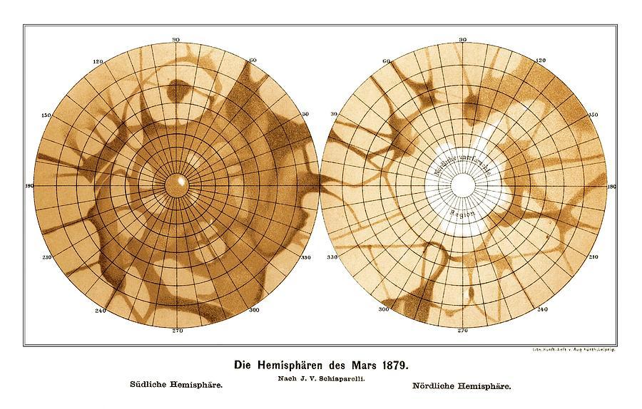 Mars Photograph - Schiaparellis Map Of Mars, 1879 by Detlev Van Ravenswaay