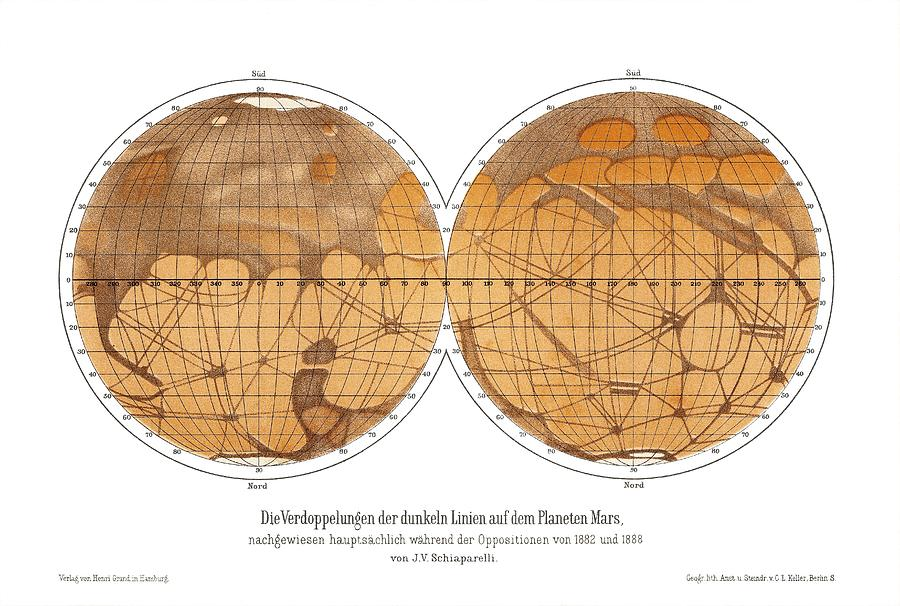 Mars Photograph - Schiaparellis Map Of Mars, 1882-1888 by Detlev Van Ravenswaay