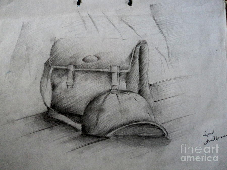 School Bag Drawing - Still Life Study Drawing Practice by Tanmay Singh