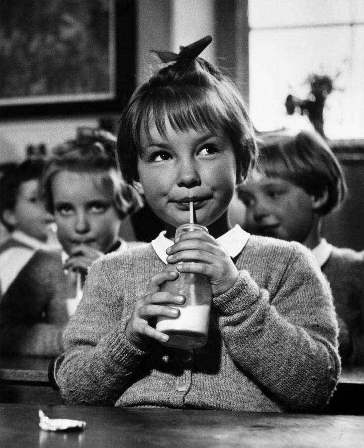 Child Photograph - School Milk by Kurt Hutton