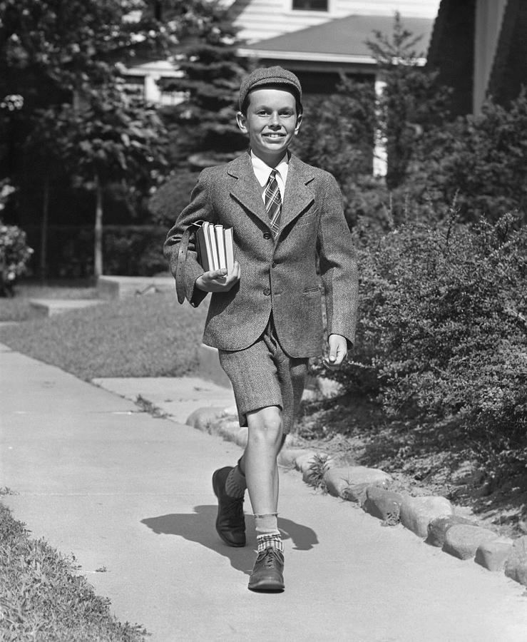 Child Photograph - Schoolboy On Sidewalk by George Marks