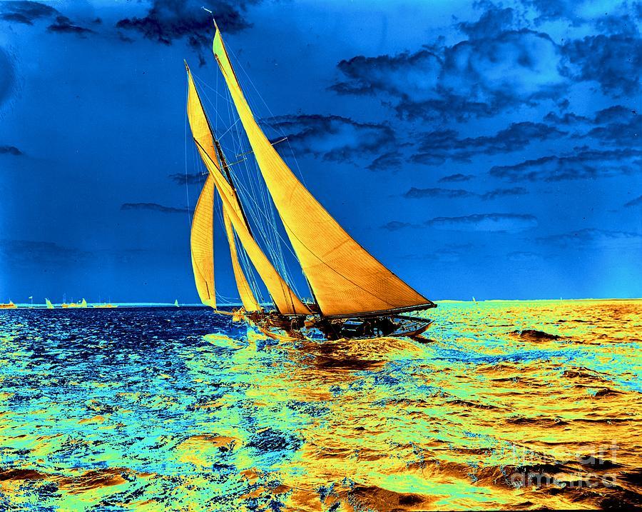 Regatta Photograph - Schooner Ariels Golden Sails 1899 by Padre Art