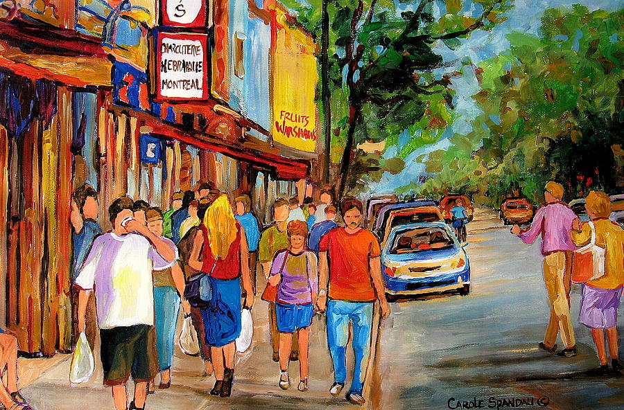 Montreal Painting - Schwartzs Hebrew Deli by Carole Spandau
