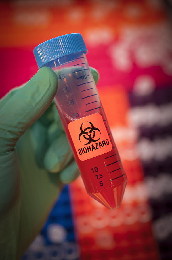Color Image Photograph - Scientist Hold A Biohazardous Sample by Greg Dale