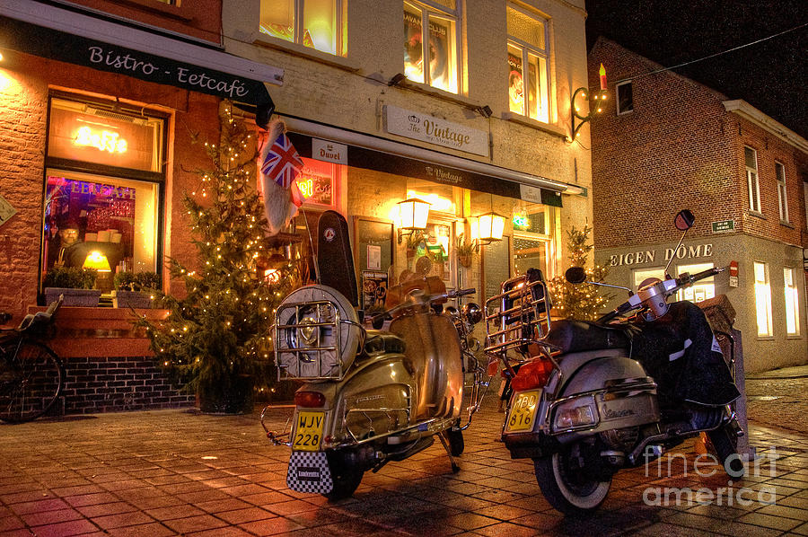 Vespa Photograph - Scooters At The Bistro by Rob Hawkins