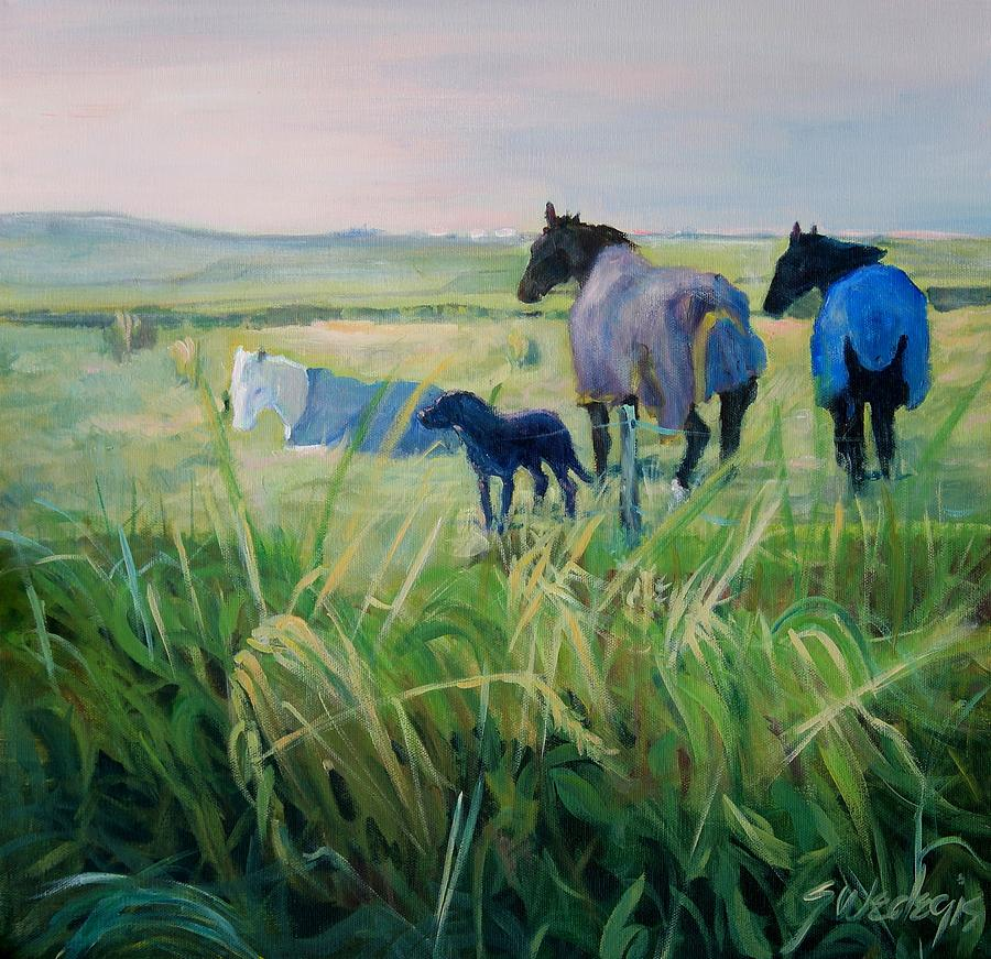 Horses Painting - Scotland Fields by Sheila Wedegis
