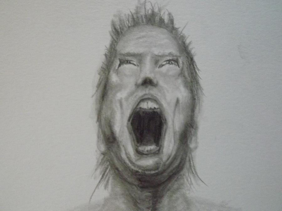 Pencil Drawing - Screaming man by Joe Rego