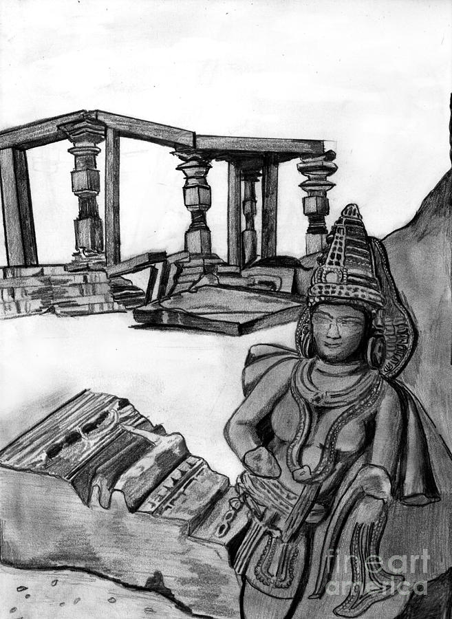 History Drawing - Sculptures And Monuments by Shashi Kumar