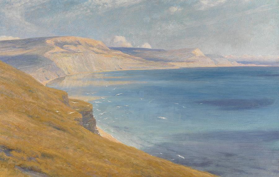 Coastal; Coast; Landscape; Seascapes Painting - Sea And Sunshine   Lyme Regis by Sir Frank Dicksee