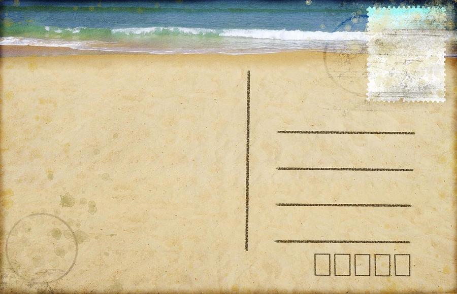 Address Photograph - Sea Beach On Postcard  by Setsiri Silapasuwanchai