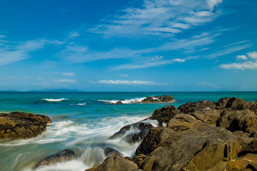 Bay Photograph - Sea Landscape With Beach Coast Rocks And Blue Sky by U  Schade - Sea Landscape With Beach Coast Rocks And Blue Sky Photograph By U Schade