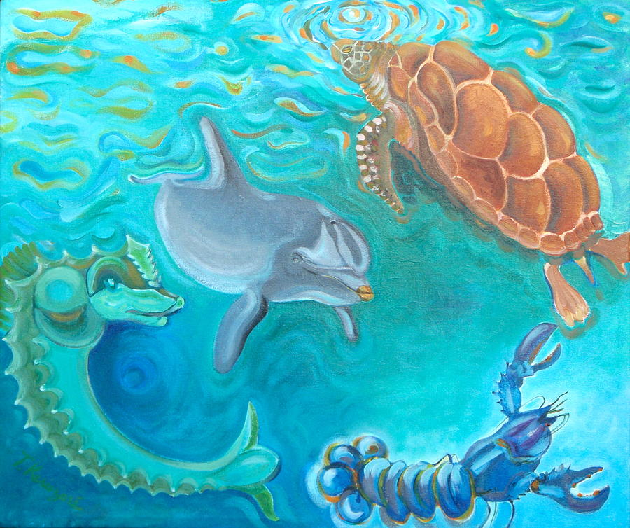 Sea life painting by thierry keruzore for Sea life paintings artists