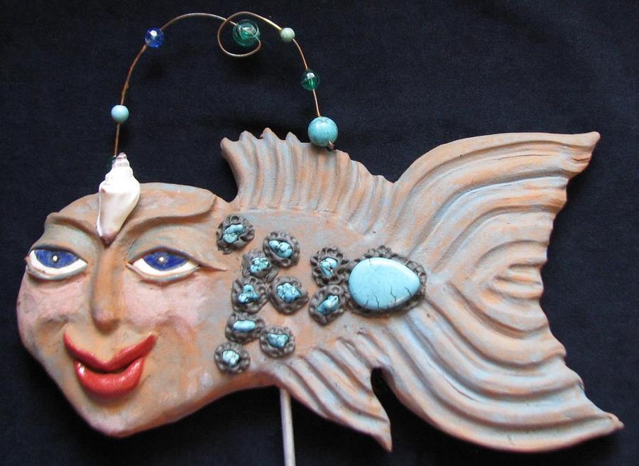 Water Spirits Ceramic Art - Sea Sprite - Alicia by Judy  Hensley