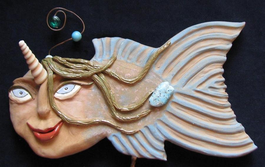 Water Spirits Ceramic Art - Sea Sprite - Celest by Judy  Hensley