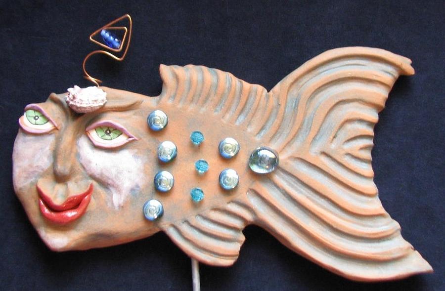 Water Spirits Ceramic Art - Sea Sprite - Corine by Judy  Hensley