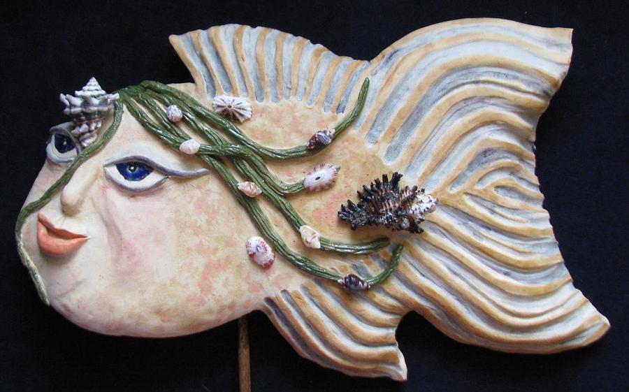Water Spirits Ceramic Art - Sea Sprite - Kristina by Judy  Hensley