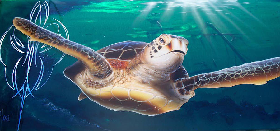 Sea Painting - Sea Turtle by Mike Royal