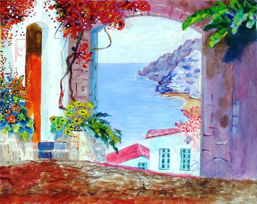 Sea Painting - Sea View by Kostas Dendrinos