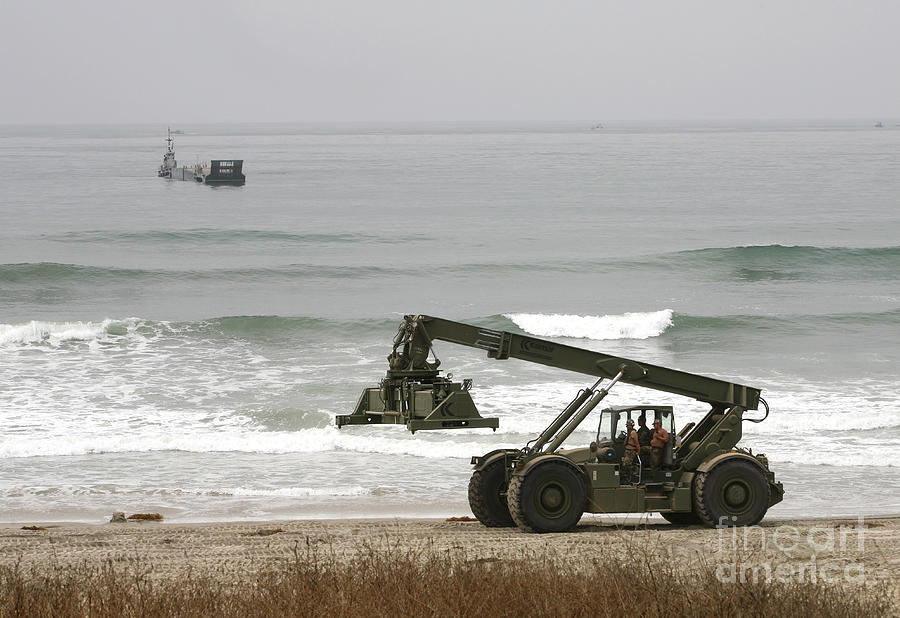 Beach Photograph - Seabee Loader And Powered Causeway by Michael Wood