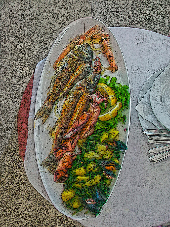 Fish Photograph - Seafood In Opatija -2 by Rezzan Erguvan-Onal