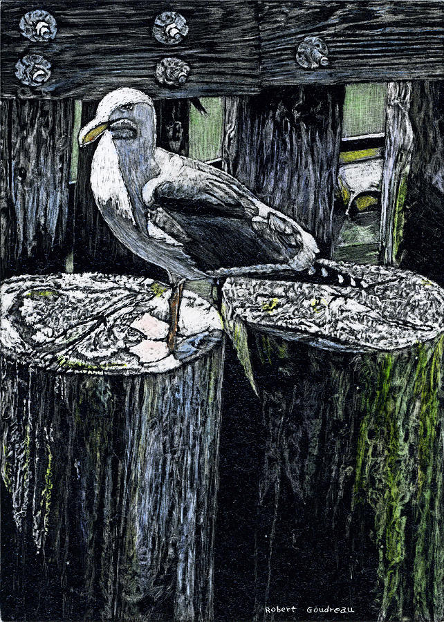 Seagull Painting - Seagull At Pier by Robert Goudreau