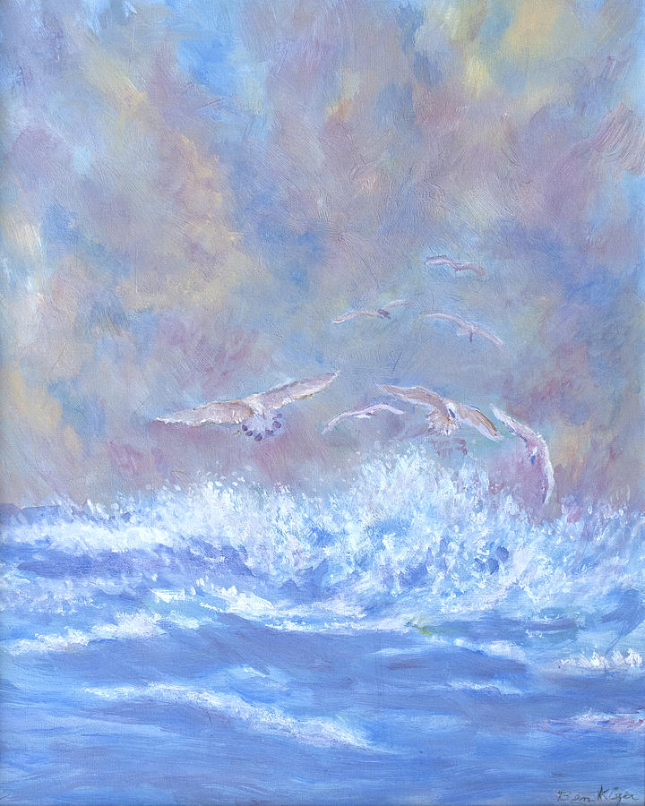 Seascape Painting - Seagulls at Play by Ben Kiger