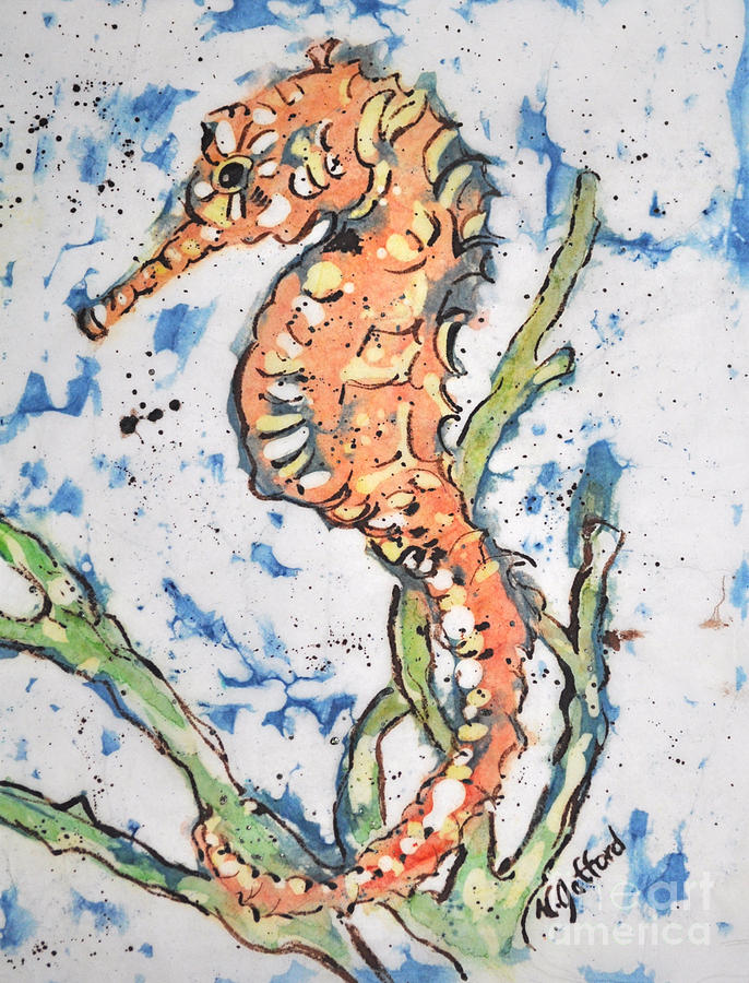 Watercolor Painting - Seahorse by Norma Gafford