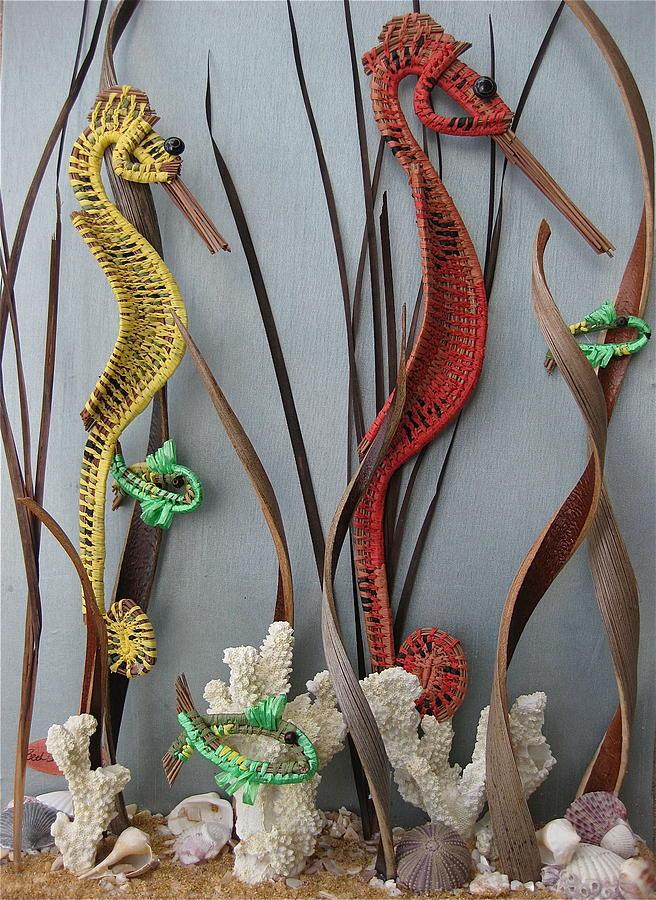 Seahorses Sculpture - Seahorses by Beth Lane Williams