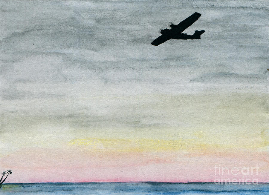Searching The Tropics - Pby Catalina On Patrol Painting by R Kyllo