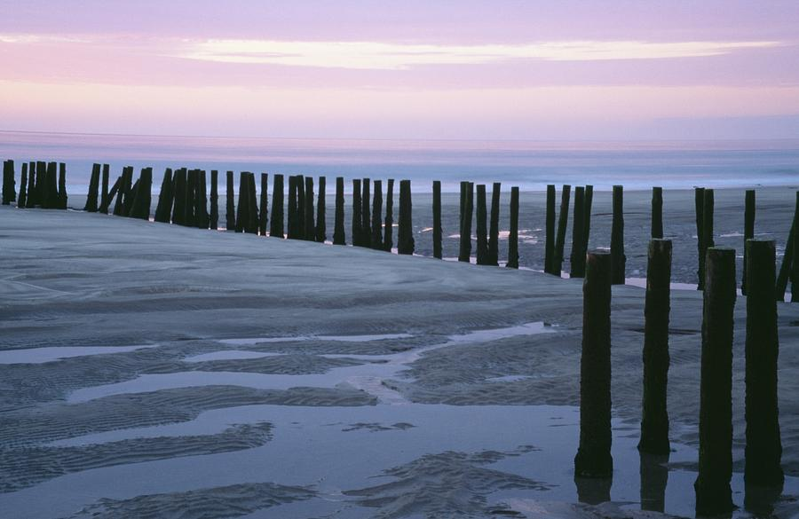 Color Image Photograph - Seascape At Dusk With Pillars In by Axiom Photographic