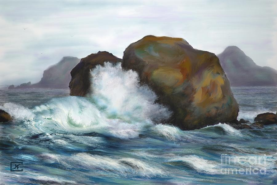 Seascape Painting - Seascape Rocks And Surf by Judy Filarecki