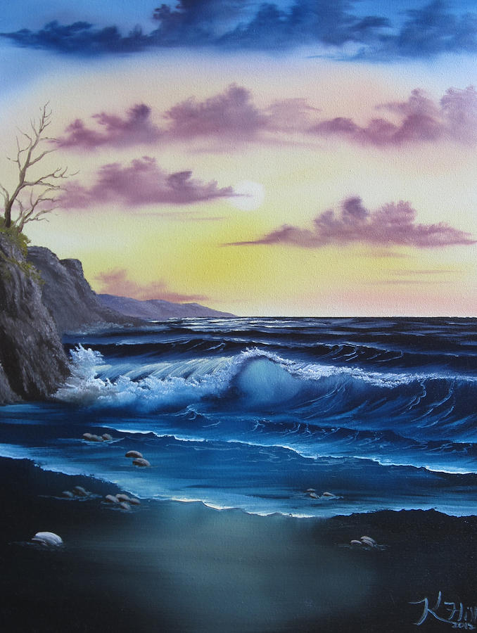 Seascape Painting - Seascape Sunset by Kevin Hill