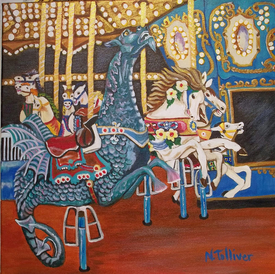 Carousels Painting - Seaside Heights Carousel by Norma Tolliver