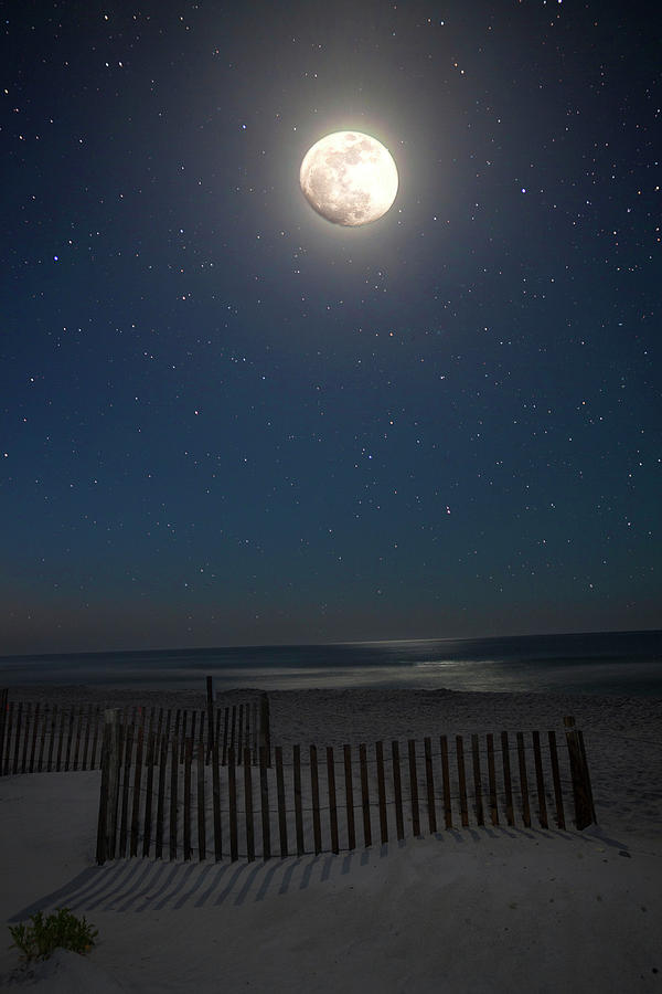 Moon Photograph - Seaside Moonset by Charles Warren
