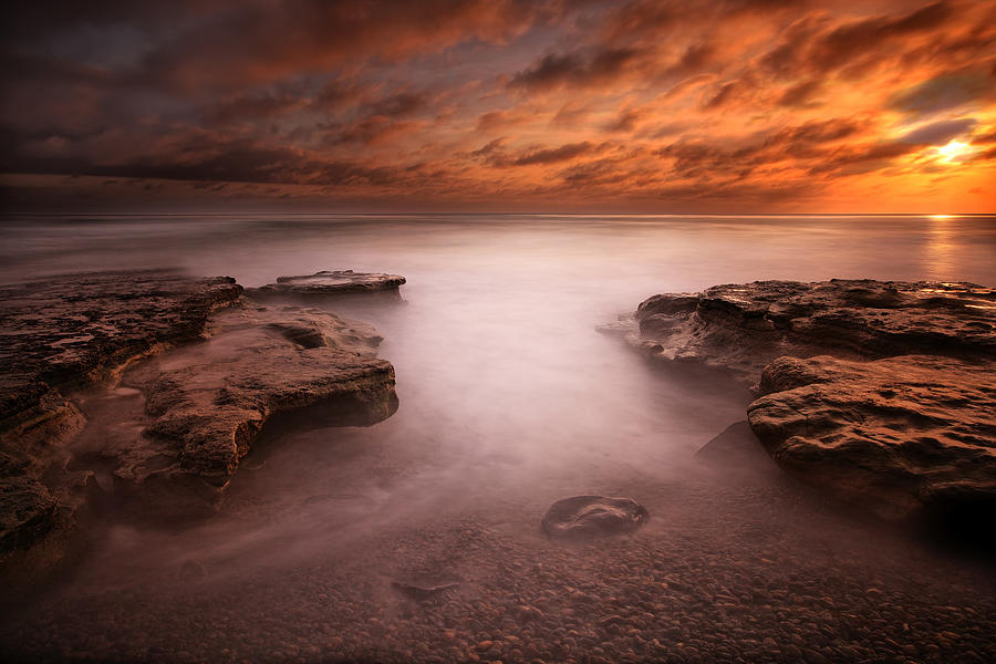 Sun Photograph - Seaside Reef Sunset 3 by Larry Marshall