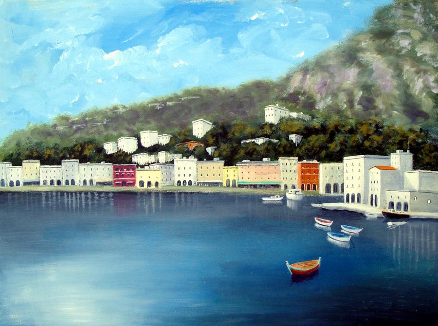 Amalfi Coast Painting - Seaside Town by Larry Cirigliano