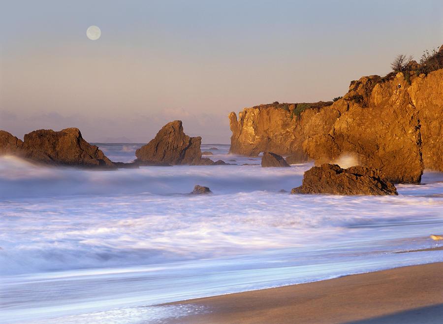 Seastacks And Full Moon At El Matador Photograph by Tim Fitzharris