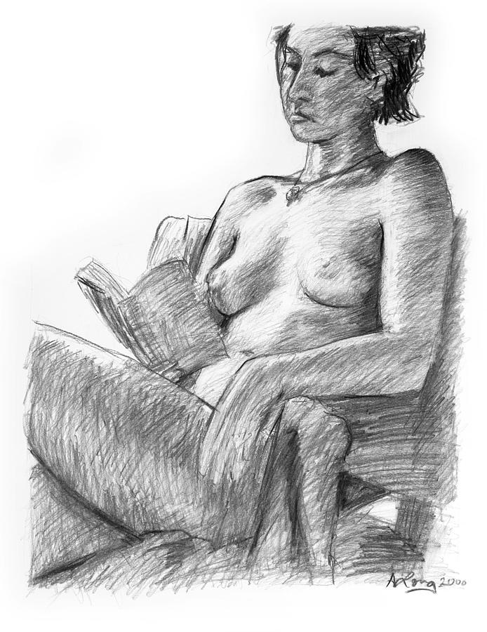 Seated Nude Reading Figure Drawing Drawing by Adam Long