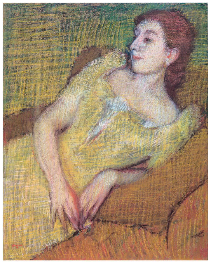 Portrait Of A Woman Pastel - Seated Woman In A Yellow Dress by Edgar Degas