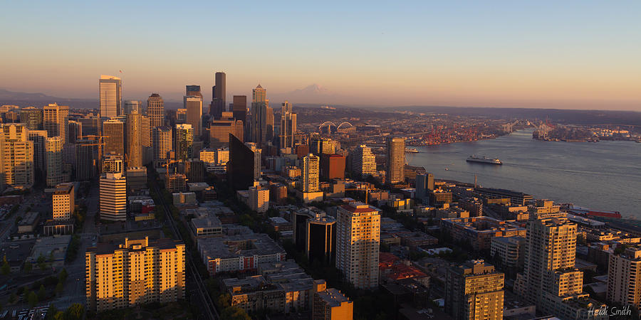 Bay Photograph - Seattle Blue Hour by Heidi Smith