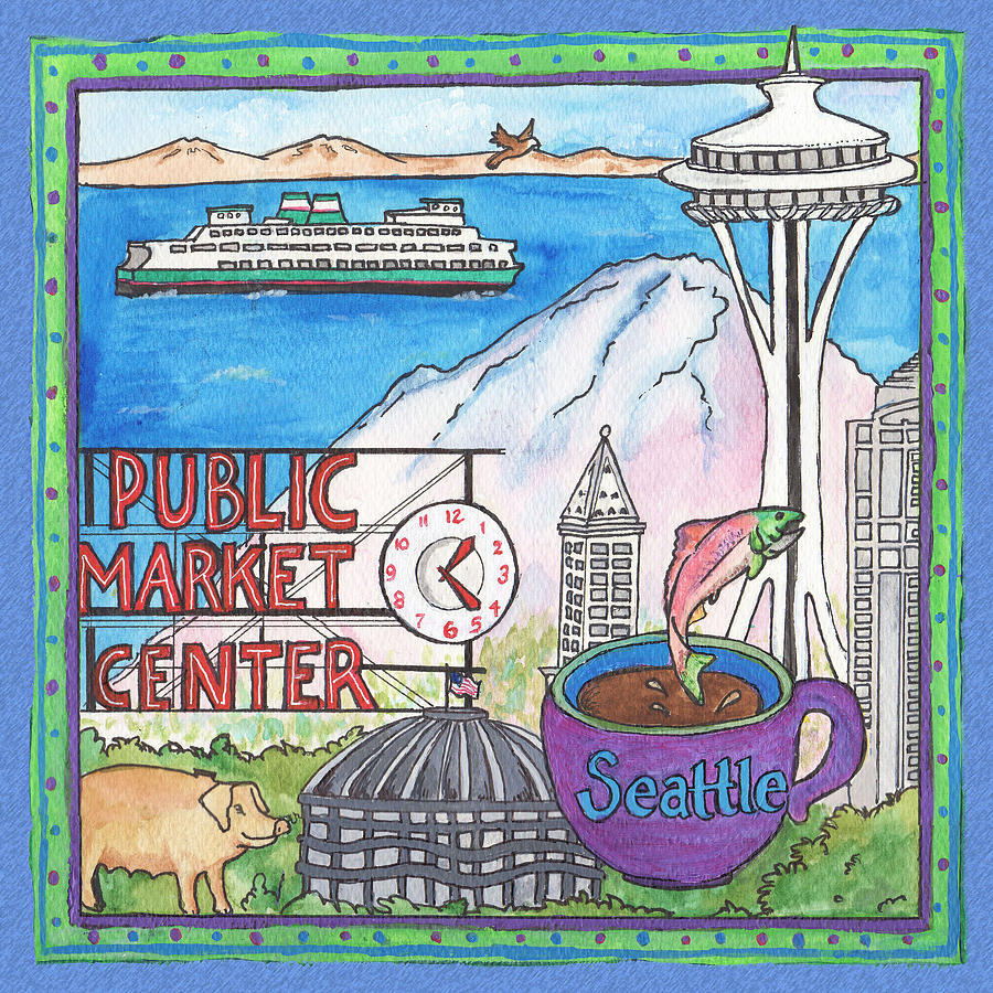Seattle Painting - Seattle Montage by Pamela  Corwin