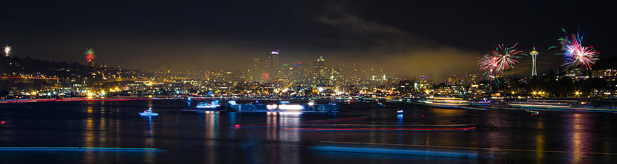 Seattle Photograph - Seattle Skyline Firework Panorama by Dmitry Grekov