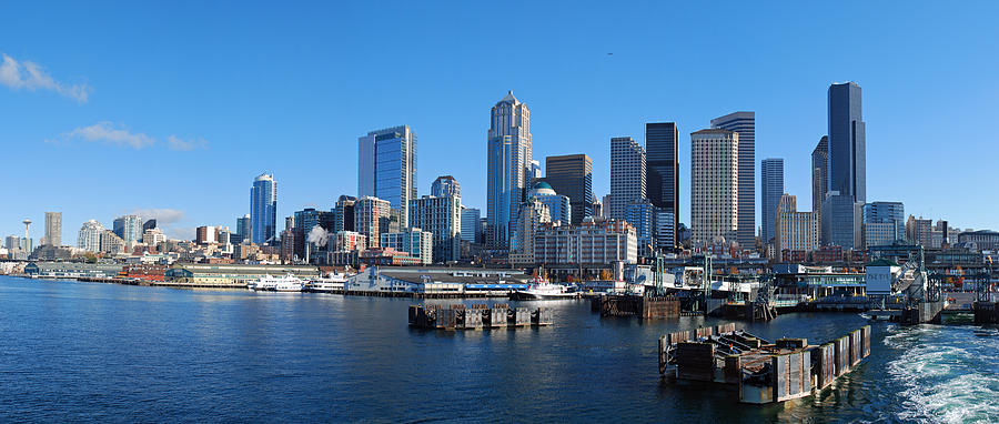 Seattle Skyline From Puget Sound Photograph by Twenty Two ...