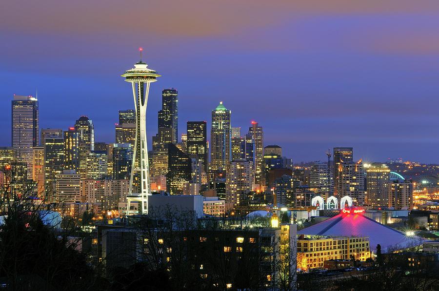 Horizontal Photograph - Seattle Skyline by Tom Schwabel
