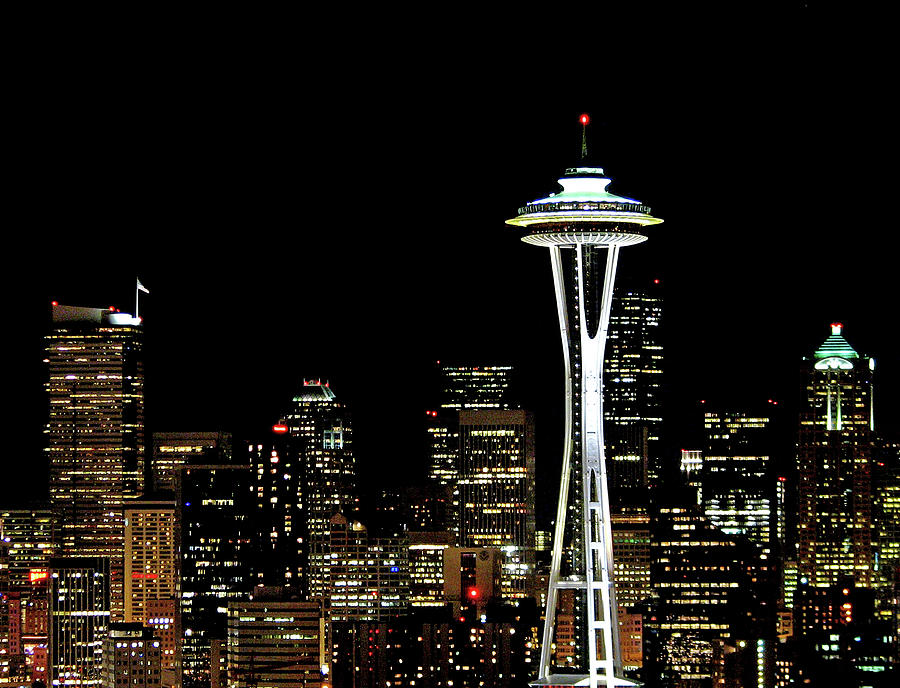 Horizontal Photograph - Seattle Skyline With Space Needle by Tim Ford