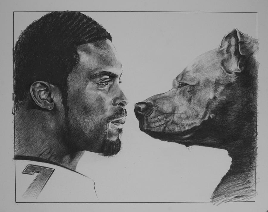 Mike Vick Drawing - See Vick Run by Paul Autodore