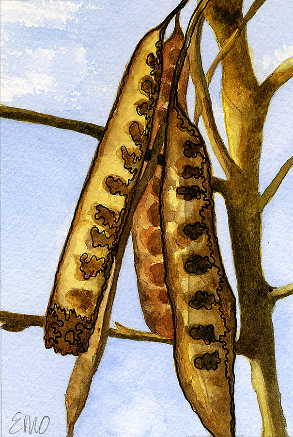 Seasonal Painting - Seed Pods by Eunice Olson